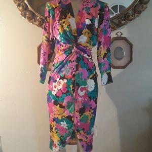 80s Flora Kung Pencil Dress